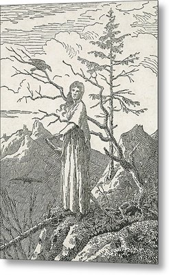 Woman With A Raven On The Edge Of A Precipice Metal Print by Caspar David Friedrich