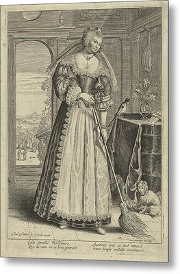 Woman With Broom In An Interior, Theodor Matham Metal Print by Theodor Matham And C. David