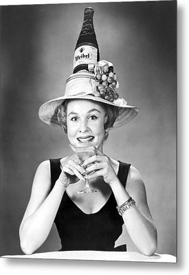 Woman With Champagne Hat Metal Print by Underwood Archives