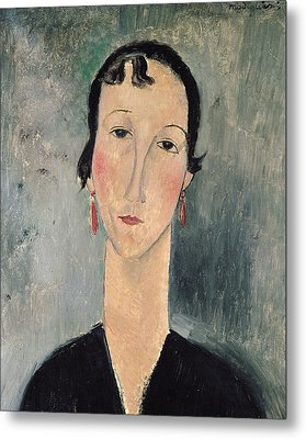 Woman With Earrings Metal Print by Amedeo Modigliani