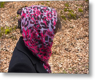 Woman With Headscarf In The Forest - Quirky And Surreal Metal Print by Matthias Hauser