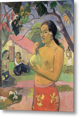 Woman With Mango Metal Print by Paul Gauguin