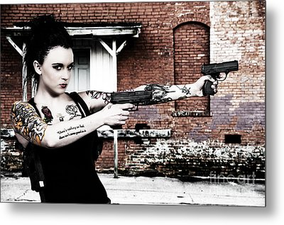 Woman With Pistols Metal Print by Rob Byron