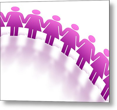 Women Holding Hands Metal Print by Aged Pixel