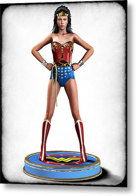 Wonder Woman Retro Metal Print by Frederico Borges
