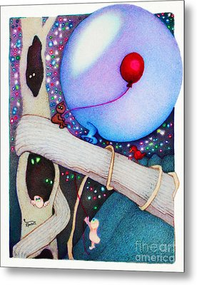Woobies Character Baby Art Colorful Whimsical Tree House Design By Romi Neilson Metal Print by Megan Duncanson