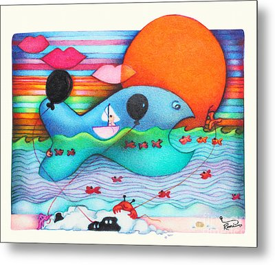 Woobies Character Baby Art Colorful Whimsical Whale Design By Romi Neilson Whale Metal Print by Megan Duncanson