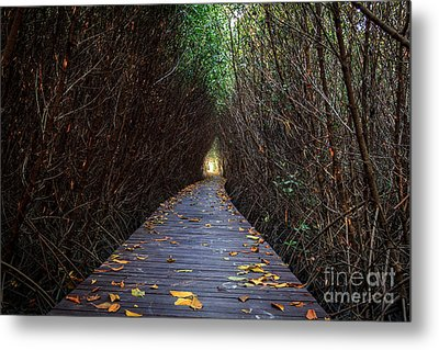 Wooden Bridge Metal Print by Niphon Chanthana