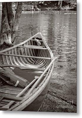 Wooden Canoe Metal Print by Edward Fielding