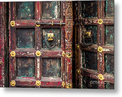 Wooden Door Metal Print by Catherine Arnas