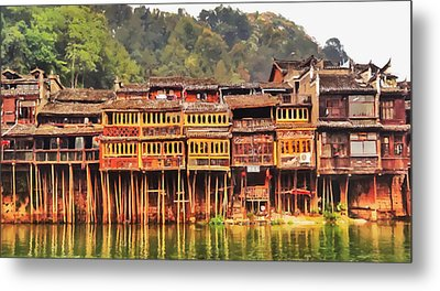 Wooden Houses Metal Print by Lanjee Chee