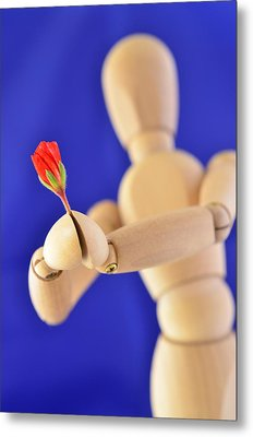 Wooden Man -  Flower For You Metal Print by Gynt