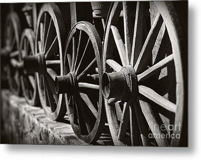 Wooden  Wagon Wheels Metal Print by Martin Dzurjanik
