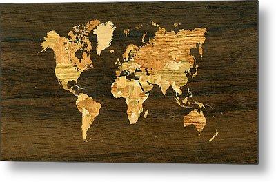 Wooden World Map Metal Print by Hakon Soreide