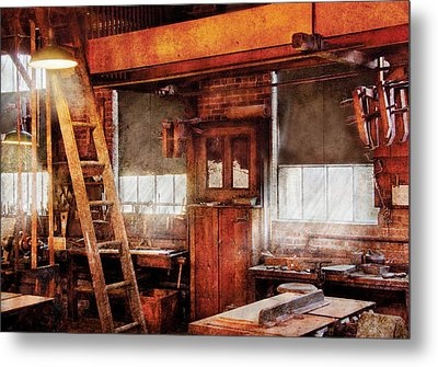 Woodworker - Old Workshop Metal Print by Mike Savad