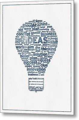 Words Ideas  -  Blue Ink Metal Print by Aged Pixel