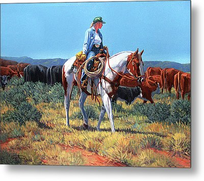 Working Cowgirl Metal Print by Randy Follis