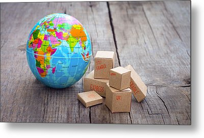 World Import And Export Metal Print by Aged Pixel