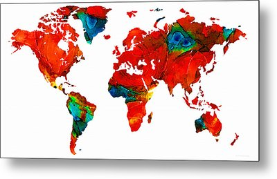 World Map 12 - Colorful Red Map By Sharon Cummings Metal Print by Sharon Cummings