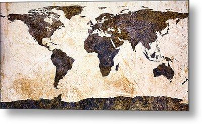 World Map Abstract Metal Print by Bob Orsillo