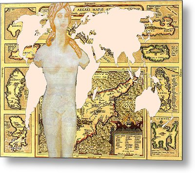 World Map Cyprus And Aphrodite Metal Print by Augusta Stylianou