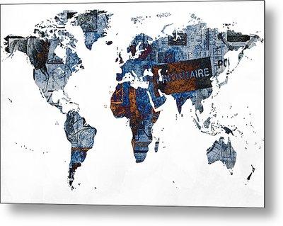 World Map Post Stamps Grunge Blueprint Metal Print by Eti Reid