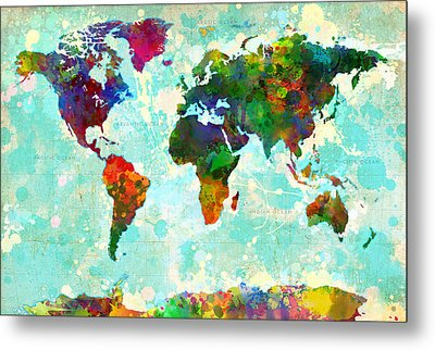 World Map Splatter Design Metal Print by Gary Grayson