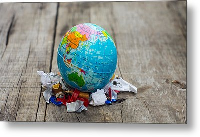 World Pollution Concept Metal Print by Aged Pixel