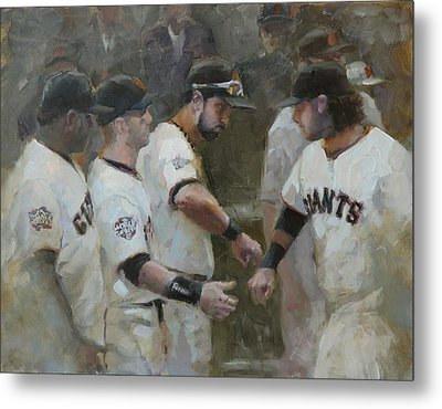 World Series Fist Bump Metal Print by Darren Kerr