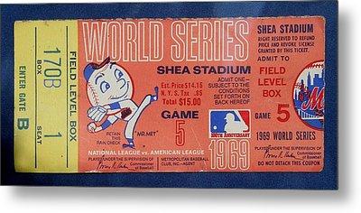 World Series Ticket Shea Stadium 1969 Metal Print by Melinda Saminski