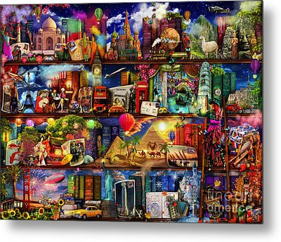 World Travel Book Shelf Metal Print by Aimee Stewart