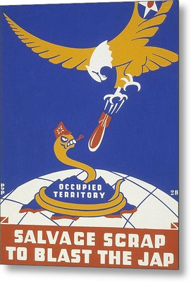World War II 1939-1945 Anti Japanese Poster Sponsored By The Thirteenth Naval District Metal Print by Anonymous