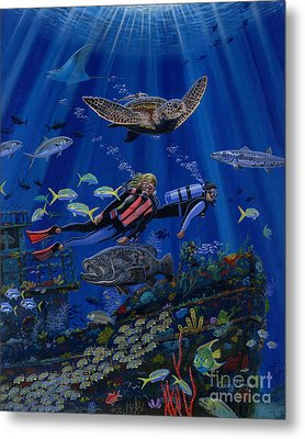 Wreck Divers Re0014 Metal Print by Carey Chen
