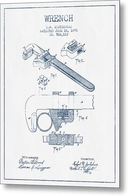 Wrench Patent Drawing From 1896- Blue Ink Metal Print by Aged Pixel