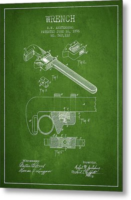 Wrench Patent Drawing From 1896 - Green Metal Print by Aged Pixel