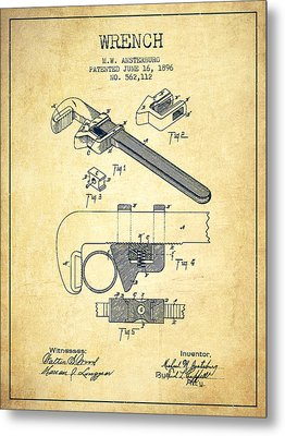 Wrench Patent Drawing From 1896 - Vintage Metal Print by Aged Pixel
