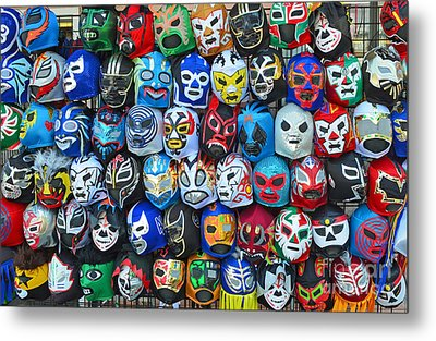 Wrestling Masks Of Lucha Libre Metal Print by Jim Fitzpatrick