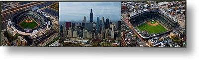 Wrigley And Us Cellular Fields Chicago Baseball Parks 3 Panel Composite 01 Metal Print by Thomas Woolworth