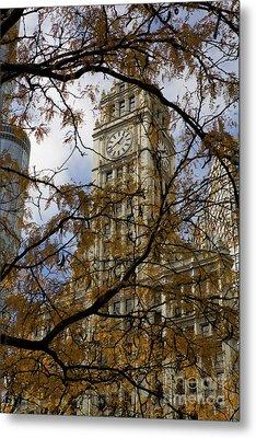 Wrigley Building In Autumn  Metal Print by Leslie Leda