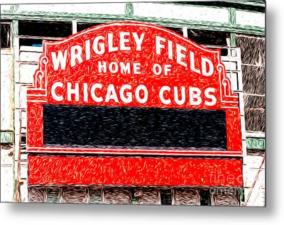 Wrigley Field Chicago Cubs Sign Digital Painting Metal Print by Paul Velgos