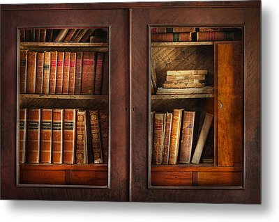 Writer - Books - The Book Cabinet  Metal Print by Mike Savad