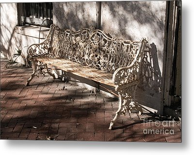 Wrought Iron Bench In White Metal Print by Jennifer Apffel