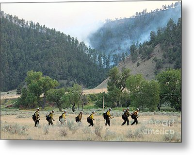 Metal Print featuring the photograph Wyoming Hot Shots Walk To Their Assignment by Bill Gabbert