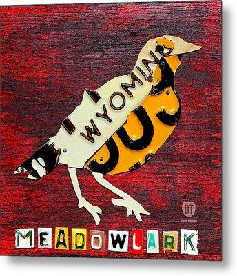 Wyoming Meadowlark Wild Bird Vintage Recycled License Plate Art Metal Print by Design Turnpike