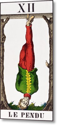 Xii The Hanged Man, Tarot Card Metal Print by French School