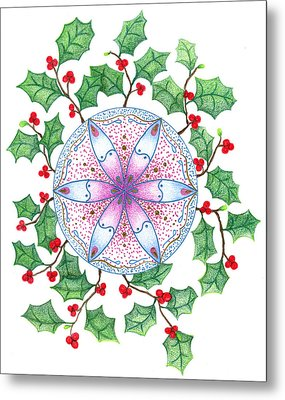 X'mas Wreath Metal Print by Keiko Katsuta