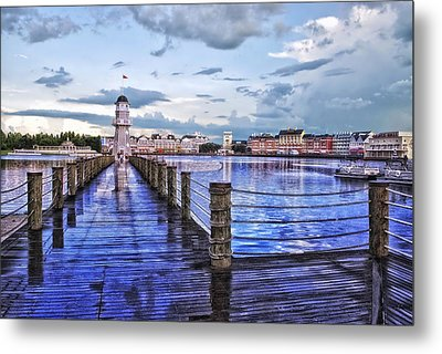 Yacht And Beach Club Lighthouse Metal Print by Thomas Woolworth