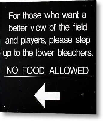 Yankee Stadium Lower Bleachers Sign Metal Print by Bill Cannon