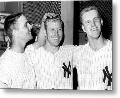Yankees Celebrate Victory Metal Print by Underwood Archives