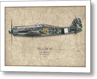 Yellow 10 Focke-wulf Fw190d - Map Background Metal Print by Craig Tinder